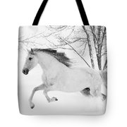 Snowy Mare Leaps Tote Bag