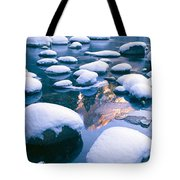 Snowy Merced River With Reflection Tote Bag