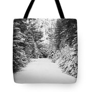 Snowy Mountain Road - Black And White Tote Bag