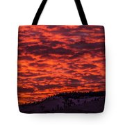 Snowy Mountain Sunset Tote Bag