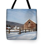 Snowy New England Barns Tote Bag by Bill Wakeley