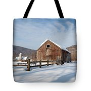 Snowy New England Barns Square Tote Bag