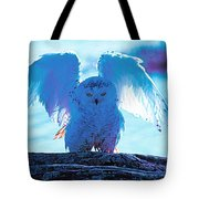 Snowy Owl Drying After Bath Tote Bag