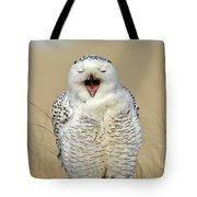 Snowy Owl Yawning Tote Bag