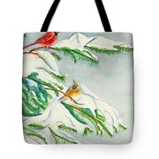Snowy Pines And Cardinals Tote Bag