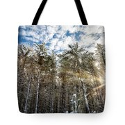 Snowy Pines With Sunflair Tote Bag