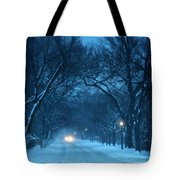 Snowy Road On A Winter Evening Tote Bag