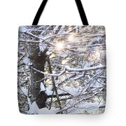 Snowy Sunbursts Tote Bag