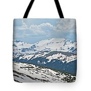 Snowy Terrain Near Top Of Trail Ridge Road In Rocky Mountain Np-co   Tote Bag