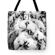 Snowy Tree - Black And White Tote Bag