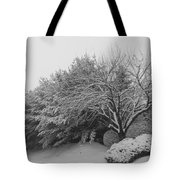 Snowy Trees In Black And White Tote Bag