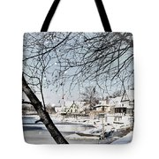 Snowy View Of Boathouserow Tote Bag
