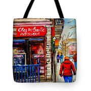 Snowy Walk By The Tea Room And Pastry Shop Winter Street Montreal Art Carole Spandau  Tote Bag