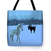 Snowy Walk Tote Bag