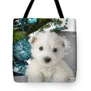 Snowy White Puppy Present Tote Bag