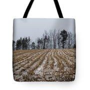Snowy Winter Cornfields Tote Bag