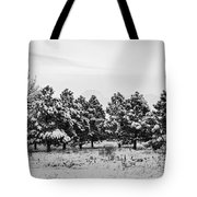 Snowy Winter Pine Trees In Black And White Tote Bag