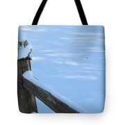 Snowy Wood Fence Tote Bag