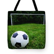 Soccer Ball On Field Tote Bag