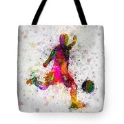 Soccer Player - Kicking Ball Tote Bag