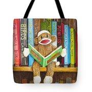 Sock Monkey Reading A Book Tote Bag