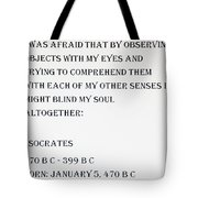Socrates Quote Tote Bag