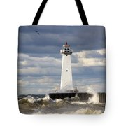 Sodus Outer Lighthouse On Stormy Lake Tote Bag