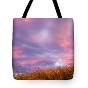 Soft Diffused Colourful Sunset Over Dry Grassland Tote Bag