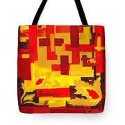 Soft Geometrics Abstract In Red And Yellow Impression I Tote Bag