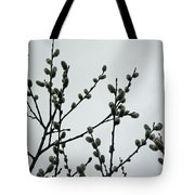 Soft Pussy Willows - Hard Gray Sky Tote Bag
