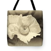 Soft Sepia White Poppy Matilija Flower Tote Bag