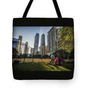 Softball By Skyscrapers Tote Bag