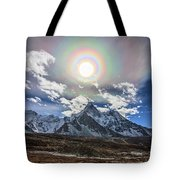 Solar Corona Above The Ama Dablam Tote Bag