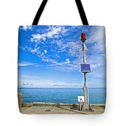 Solar-powered Light In Halls Harbour In Nova Scotia-canada Tote Bag