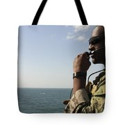 Soldier Instructs Small Boat Maneuvers Tote Bag