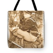 Soldier On Horse Tote Bag