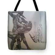 Soldier Slaying A Demon With Abstract Echo Tote Bag