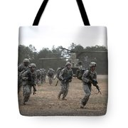 Soldiers Exit A Ch-47 Chinook Tote Bag