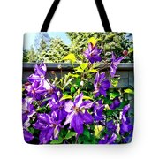 Solina Clematis On Fence Tote Bag