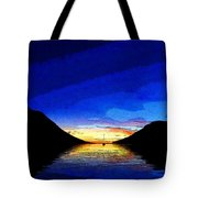 Solitary Sailboat Sunrise Tote Bag by Anne Mott