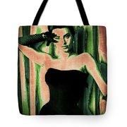 Sophia Loren - Green Pop Art Tote Bag by Absinthe Art By Michelle LeAnn Scott