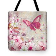 Sophisticated Elegant Whimsical Pink Butterfly Floral Flower Art Springs Joy By Megan Duncanson Tote Bag by Megan Duncanson