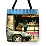 Soups's On Montreal's Favorite Fast Food Road Side Attractions Rue St. Denis Resto Urban City Scene  Tote Bag