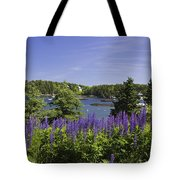 South Bristol And Lupine Flowers On The Coast Of Maine Tote Bag