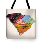 South Carolina Map Art - Painted Map Of South Carolina Tote Bag