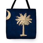 South Carolina State Flag Art On Worn Canvas Tote Bag