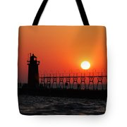 South Haven Lighthouse At Sunset 1 Tote Bag