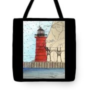 South Haven Lighthouse Mi Nautical Chart Map Art Cathy Peek Tote Bag