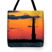 South Pier Light At Night Tote Bag