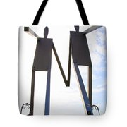 South Street Stick Men Statue Tote Bag